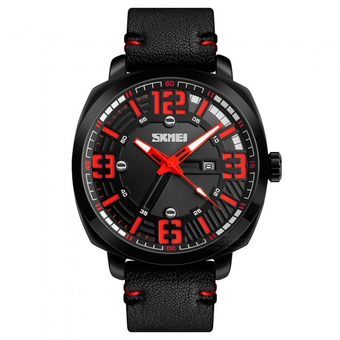 SKMEI 1351 30M Waterproof Mens Leather Band Quartz Watch with Calendar - RedQuartz Watches<br>ColorRedModel1351Quantity1 DX.PCM.Model.AttributeModel.UnitShade Of ColorRedCasing MaterialAlloyWristband MaterialLeatherSuitable forAdultsGenderMenStyleWrist WatchTypeCasual watchesDisplayAnalogMovementQuartzDisplay Format12 hour formatWater ResistantWater Resistant 3 ATM or 30 m. Suitable for everyday use. Splash/rain resistant. Not suitable for showering, bathing, swimming, snorkelling, water related work and fishing.Dial Diameter5.5 DX.PCM.Model.AttributeModel.UnitDial Thickness1.2 DX.PCM.Model.AttributeModel.UnitWristband Length26.5 DX.PCM.Model.AttributeModel.UnitBand Width2.2 DX.PCM.Model.AttributeModel.UnitBattery1 x SR626SWPacking List1 x SKMEI 1351 Watch<br>