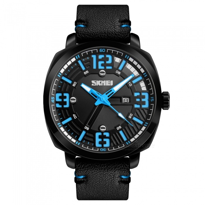 SKMEI 1351 30M Waterproof Mens Leather Band Quartz Watch with Calendar - BlueQuartz Watches<br>ColorBlueModel1351Quantity1 DX.PCM.Model.AttributeModel.UnitShade Of ColorBlueCasing MaterialAlloyWristband MaterialLeatherSuitable forAdultsGenderMenStyleWrist WatchTypeCasual watchesDisplayAnalogMovementQuartzDisplay Format12 hour formatWater ResistantWater Resistant 3 ATM or 30 m. Suitable for everyday use. Splash/rain resistant. Not suitable for showering, bathing, swimming, snorkelling, water related work and fishing.Dial Diameter5.5 DX.PCM.Model.AttributeModel.UnitDial Thickness1.2 DX.PCM.Model.AttributeModel.UnitWristband Length26.5 DX.PCM.Model.AttributeModel.UnitBand Width2.2 DX.PCM.Model.AttributeModel.UnitBattery1 x SR626SWPacking List1 x SKMEI 1351 Watch<br>