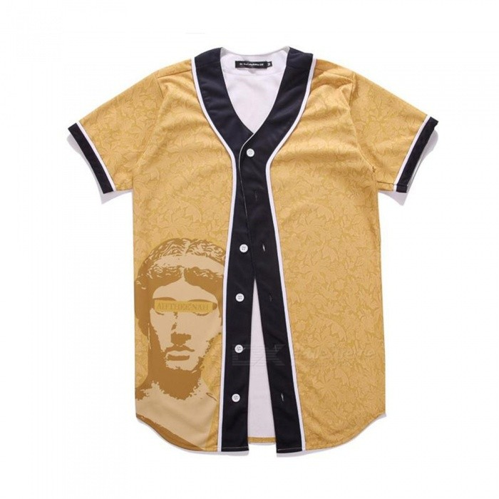 CTSmart 3D David Pattern Creative Slim Short-Sleeve Baseball Jersey T-Shirt for Men - Earth Yellow (L)Hoodies &amp; Sweatshirts<br>ColorEarth YellowSizeLQuantity1 DX.PCM.Model.AttributeModel.UnitShade Of ColorYellowMaterial60% polyester + 40% cottonStyleFashionShoulder Width42 DX.PCM.Model.AttributeModel.UnitChest Girth98 DX.PCM.Model.AttributeModel.UnitWaist Girth98 DX.PCM.Model.AttributeModel.UnitSleeve Length19 DX.PCM.Model.AttributeModel.UnitTotal Length77 DX.PCM.Model.AttributeModel.UnitSuitable for Height165 DX.PCM.Model.AttributeModel.UnitPacking List1 x Short sleeve T-shirt<br>