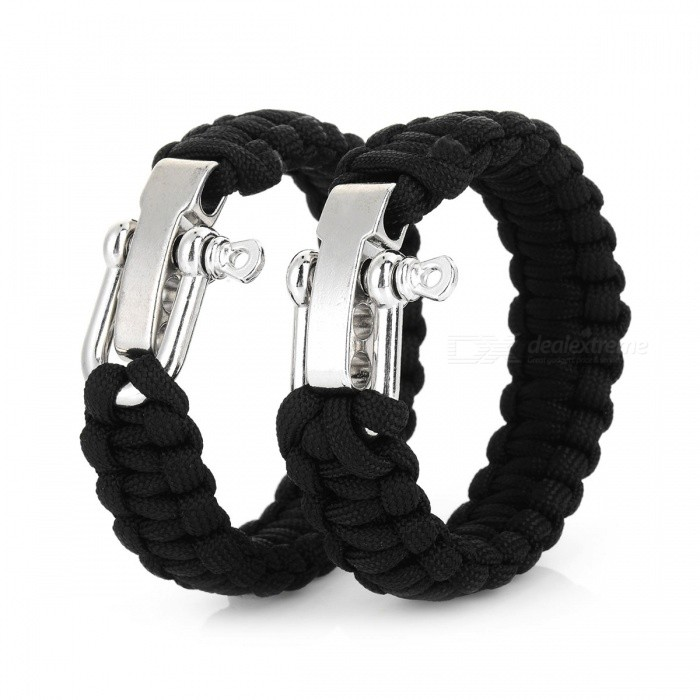 Bracelet Style Emergency Parachute Cord Paracord Rope for Outdoor Survival - Black (2 PCS)First Aid<br>ColorblackQuantity1 setMaterialNylon + stainless steelBest UseFamily &amp; car camping,MountaineeringTypeCarabinersPacking List2 x Emergency ropes<br>