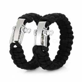 Bracelet Style Emergency Parachute Cord Paracord Rope for Outdoor Survival - Black (2 PCS)