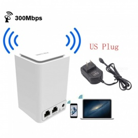 Wireless Router WiFi Mini Signal Relays 300MHz 2.4GHz Wi-Fi 802.11 b/g/n - White (US Plug/100~240V)