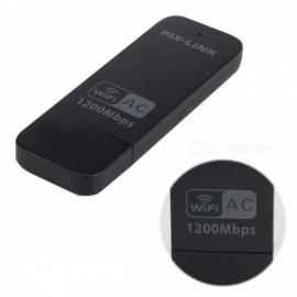 USB AC1200M Portable Wireless Wireless Network Card Adapter WiFi 802.11 b/g/n - Black
