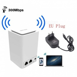 Wireless Router Wi-Fi Mini Signal Relays 300M 2.4GHz Wi-Fi 802.11 b/g/n Router - White (EU Plug)