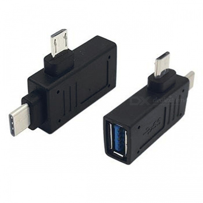 2-in-1 USB 3.1 Type C &amp; Micro USB Male to USB 3.0 Type A Female OTG Adapter - BlackLaptop/Tablet Cable&amp;Adapters<br>ColorBlackQuantity1 DX.PCM.Model.AttributeModel.UnitShade Of ColorBlackMaterialPVCInterfaceUSB 3.0Packing List1 x Adapter<br>