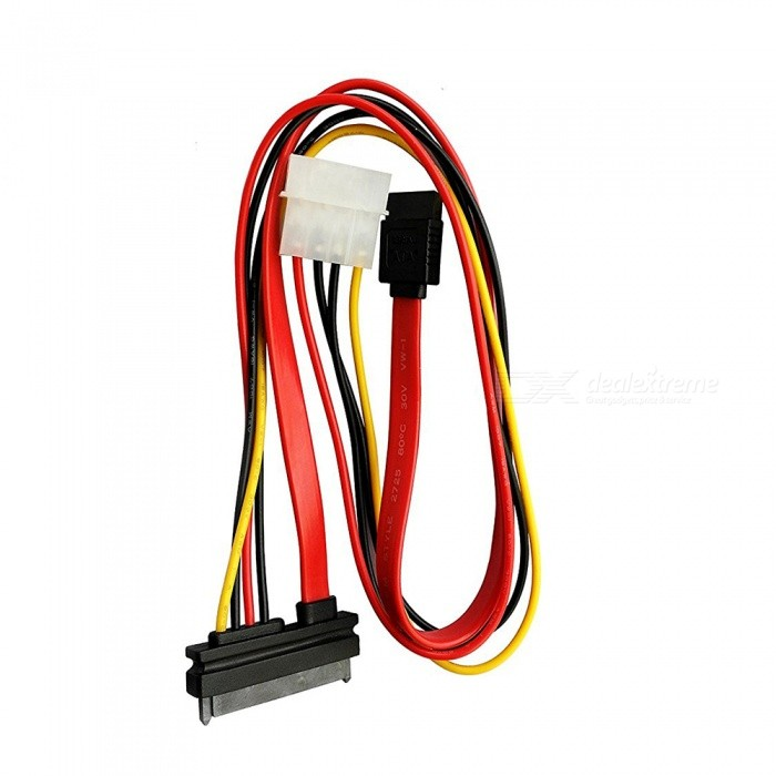Kitbon SATA (7+15) 22Pin to SATA 7Pin + 4Pin IDE LP4 Power Cable (50cm)Computer Cable &amp; Adapter<br>ColorRed + Black + YellowQuantity1 pieceShade Of ColorRedMaterialABSInterfaceOthers,SATA , 4PinPacking List1 x Cable<br>