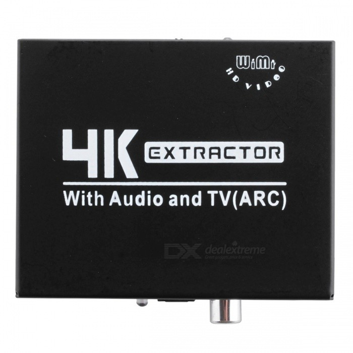 WIMI EC080 4K HDMI Audio Extractor, Full HD 1080P Video Splitter, Support Audio (5.1CH/2.1CH), TV (ARC)AV Adapters And Converters<br>ColorBlackModelEC080MaterialIronQuantity1 setConnectorHDMI,3.5mm,RCAPower AdapterEU PlugPower SupplyINPUT:AC 100-240V 50/60Hz;<br>OUTPUT: DC5V-1APacking List1 x HDMI to HDMI splitter1 x EU power adapter1 x English user manual<br>