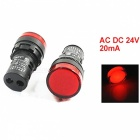 RXDZ 5Pcs AC DC 24V 20mA 22mm Panel Mounting Red Signal Plastic Round Head Electronic Circuit Energy Saving LED Pilot Lamp