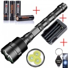 AIBBER TONE Powerful 18650 3*Cree XML T6 Self-Defense Military Tactical Flashlight Torch Light for Camping Hunting
