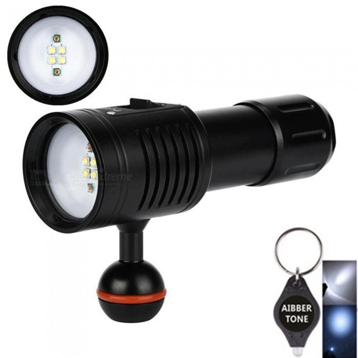 AIBBER TONE 4W2R White Red LED Scuba Diving Flashlight Torch, Underwater Photography Light Video LampDiving Flashlights<br>BundlesNo Battery Charger.Quantity1 DX.PCM.Model.AttributeModel.UnitMaterialDurable aircraft-grade aluminumEmitter BrandCreeLED TypeXM-L2Emitter BINU2Color BINRed,WhiteNumber of Emitters6Theoretical Lumens3800 DX.PCM.Model.AttributeModel.UnitActual Lumens3800 DX.PCM.Model.AttributeModel.UnitPower Supply1*18650/1*26650Working Voltage   4.2-3.2 DX.PCM.Model.AttributeModel.UnitCurrent3 DX.PCM.Model.AttributeModel.UnitRuntime- DX.PCM.Model.AttributeModel.UnitNumber of Modes9Mode ArrangementHi,Mid,Low,Others,Low (W) &gt; High (W)  &gt;  Low (R) &gt; High  (R)              &gt;  Strobe (White) &gt;  Strobe  (RED)Mode MemoryNoSwitch TypeOthers,PushSwitch LocationSideLens MaterialDiving special tempered glassReflectorNoWorking Depth Underwater100 DX.PCM.Model.AttributeModel.UnitStrap/ClipStrap includedPacking List1 x DV4w2r Diving Video Flashlight   2 x O- rings1 x Diving Lanyard1 x 18650 battery tube sleeve1 x AIBBER TONE led key chain<br>