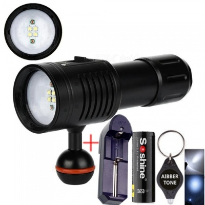AIBBER TONE 4W2R White Red LED Scuba Diving Flashlight, 26650 Torch Underwater Photography Light Video Lamp