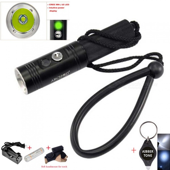 ARCHON V10S Waterproof XM-L U2 MAX 860LM Professional 3-Mode Diving LED Flashlight Torch with Battery + ChargerDiving Flashlights<br>ColorWith Battery + ChargerQuantity1 DX.PCM.Model.AttributeModel.UnitMaterialAluminum AlloyEmitter BrandCreeLED TypeXM-LEmitter BINU2Color BINWhiteNumber of Emitters1Theoretical Lumens860 DX.PCM.Model.AttributeModel.UnitActual Lumens860 DX.PCM.Model.AttributeModel.UnitPower Supply1 X 18650 batteryWorking Voltage   2.8 to  2.4 DX.PCM.Model.AttributeModel.UnitCurrent4.5 DX.PCM.Model.AttributeModel.UnitRuntime1-2 DX.PCM.Model.AttributeModel.UnitNumber of Modes3Mode ArrangementHi,Low,SOSMode MemoryNoSwitch TypeForward clickySwitch LocationSideLens MaterialGlassReflectorAluminum SmoothWorking Depth Underwater60 DX.PCM.Model.AttributeModel.UnitStrap/ClipStrap includedPacking List1 x ARCHON V10S XM-L U2 Diving LED Flashlight1 x Carrying strap1 x O-rings1 x ARCHON18650 battery 1 x ARCHON charger1 x Macio handmount para tocha1 x AIBBER TONE led key chain<br>