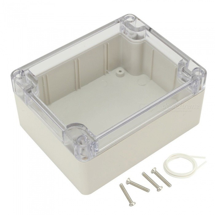 RXDZ 4.53x3.54x2.16 115mmx90mmx55mm ABS Junction Box Electric Project Enclosure Clear CoverDIY Parts &amp; Components<br>ColorLight grayQuantity1 DX.PCM.Model.AttributeModel.UnitMaterialABS, rubberEnglish Manual / SpecNoCertificationNOPacking List1 x Junction Box4 x Screws<br>