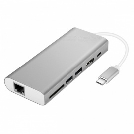 Multi-function Type-C Hub Adapter with USB3.0/RJ45 Gigabit Ethernet/Type-C PD/HDMI /SD Card Slot - Silver