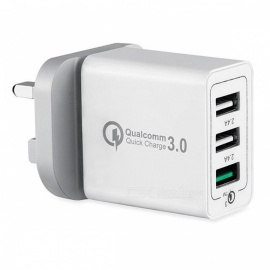 mini-smil universell 42W QC3.0 hurtigladning 3-port strømadapter vegg hurtiglader - hvit (UK-plugg)