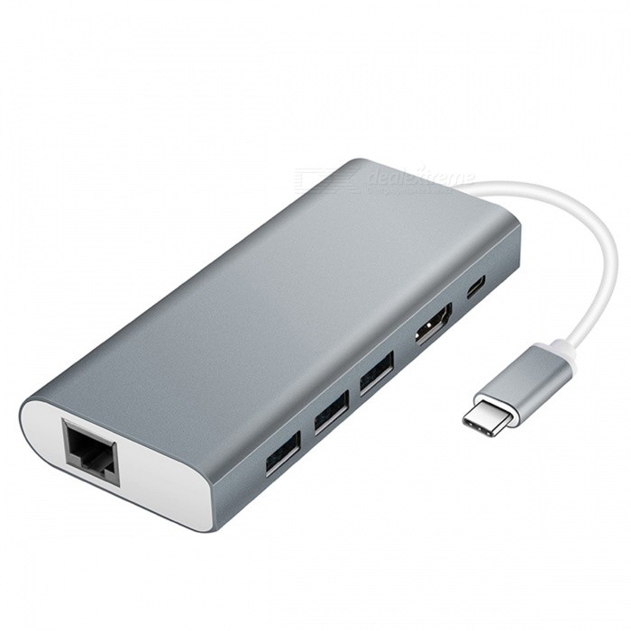 USB Type-C Hub Adapter with USB3.0/RJ45 Gigabit Ethernet/Type-C PD/HDMI - GrayLaptop/Tablet Cable&amp;Adapters<br>ColorGrayModelN/AQuantity1 DX.PCM.Model.AttributeModel.UnitShade Of ColorGrayMaterialAluminum Alloy +TPEInterfaceUSB 3.0,Others,Type-C PD /HDMI / RJ45 Gigabit EthernetTypeLaptopsCompatible BrandAPPLE,HuaweiCompatible ModelAll with type-c computerTransmission Rate5 DX.PCM.Model.AttributeModel.UnitPacking List1 x USB Type-C Hub<br>