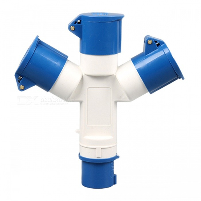 ZHAOYAO Multi-function IP44 Waterproof 16A 3-Pin Industrial Plug, Socket ConnectorPlugs &amp; Sockets<br>ColorBlue + WhiteQuantity1 DX.PCM.Model.AttributeModel.UnitMaterialPVC + copperFireproof MaterialYesRate Voltage220-240VRated Current16 DX.PCM.Model.AttributeModel.UnitRated Power3840 DX.PCM.Model.AttributeModel.UnitCompatible PlugEU Plug (2-Round-Pin Plug)GroundingYesWith Switch ControlNoSurge Protection FunctionNoLightning Protection FunctionYesWith FuseNoPower AdapterEU PlugPacking List1 x Plug<br>
