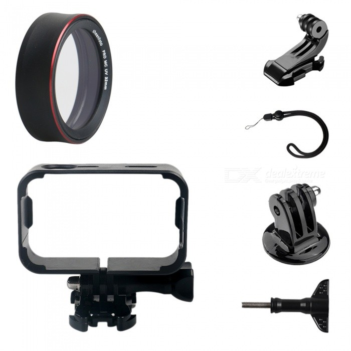 PRO MC-UV Protective Lens Cover + Camera Frame + Strap + Other Parts for Xiaomi MiJia CameraLenses Accessories<br>ColorBlackMaterialPlastic + Aluminum alloy + optical glassQuantity1 DX.PCM.Model.AttributeModel.UnitPacking List1 x Framework1 x PRO MC-UV1 x Connector1 x J-type1 x Hand rope1 x Screw<br>
