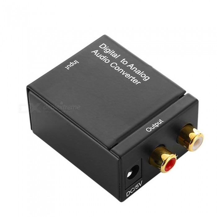 Dayspirit Portable Digital to Analog Audio Converter Adapter - BlackAV Adapters And Converters<br>ColorBlackModelN/AMaterialAluminium alloyQuantity1 DX.PCM.Model.AttributeModel.UnitConnectorOthers,Coaxial/Toslink , RCAPacking List1 x Audio converter1 x Power adapter<br>