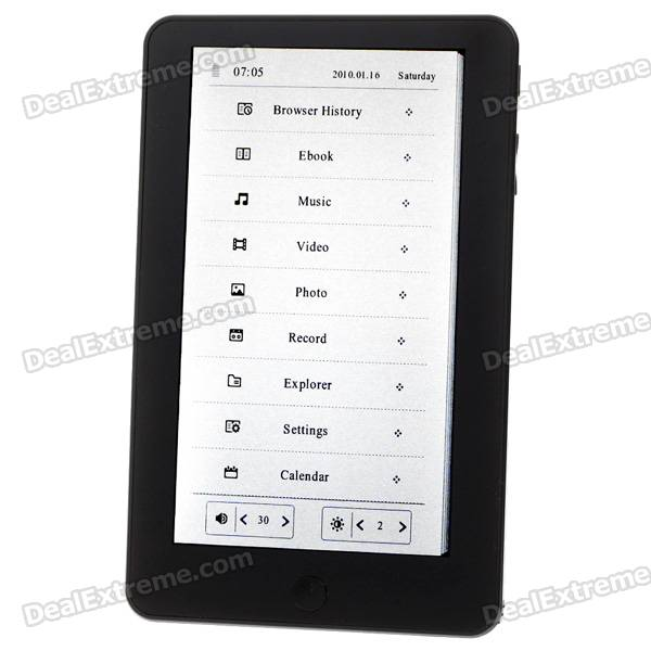 "C008 7.0"" Touch Screen E-Book Reader Music/Video Media Player w/ Voice Recorder/TF - Black (4GB)"