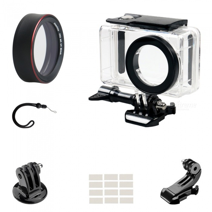 PRO-MCUV Protective Lens Cover + Camera Waterproof Shell + J Type Base + Strap + Other Parts for Xiaomi MiJia CameraLenses Accessories<br>ColorBlackMaterialOrganic glass + Aluminum alloy + optical glassQuantity1 setPacking List1 x Waterproof shell1 x Connector1 x J-type1 x Hand rope1 x Screw1 x Anti-fog insert1 x Base1 x PRO-MCUV<br>