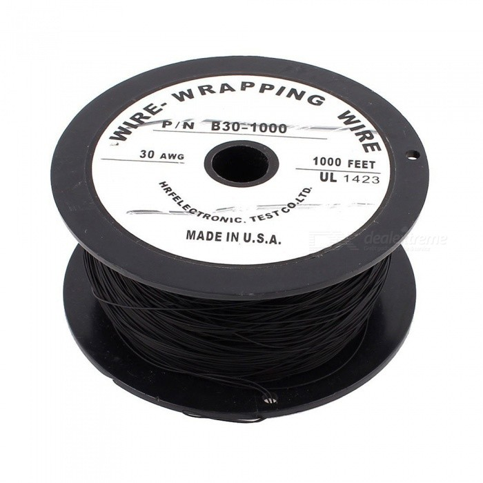 RXDZ Imported 90m 295Ft 200C Flexible PVDF Wire Wrapped Wire 30AWG Wire Cable Roll - BlackDIY Parts &amp; Components<br>ColorBlackQuantity1 pieceMaterialPTFE, MetalEnglish Manual / SpecNoCertificationNOPacking List1 x Wire-Wrapping Wire<br>