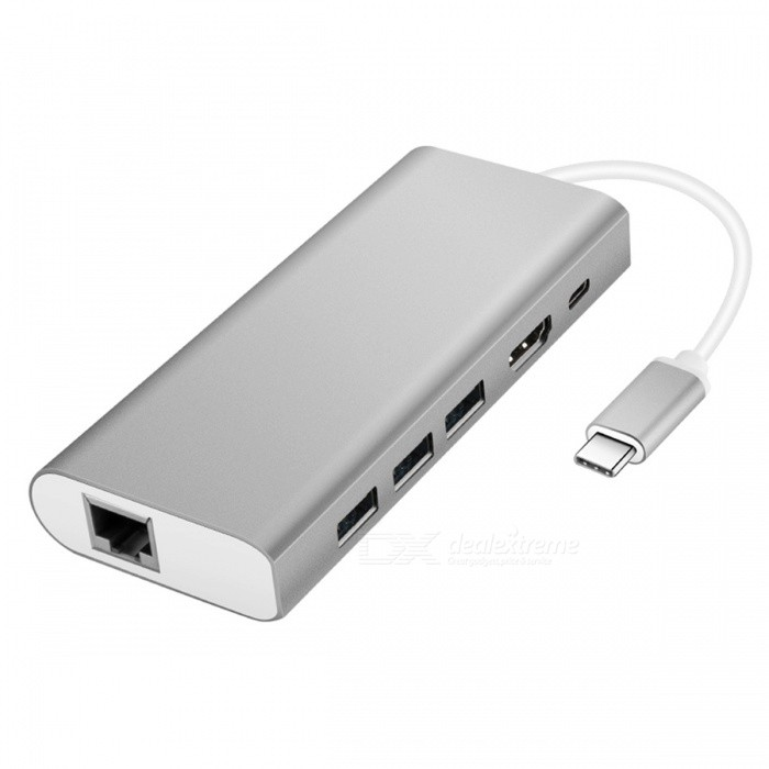 4-in-1 Multi-function USB Type-C Hub Adapter with USB3.0/RJ45 Gigabit Ethernet/Type-C PD/HDMINetwork Cables and Adapters<br>ColorSilverQuantity1 DX.PCM.Model.AttributeModel.UnitMaterialAluminum Alloy +TPEInterfaceUSB 3.0,RJ45Powered ByUSBSupports SystemWin xp,Win7 32Packing List1 x USB Type-C Hub<br>