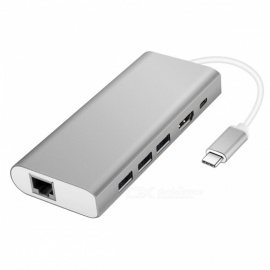 4-i-1 multifunksjon USB-hubadapter med USB3.0 / RJ45 gigabit ethernet / type-c PD / HDMI