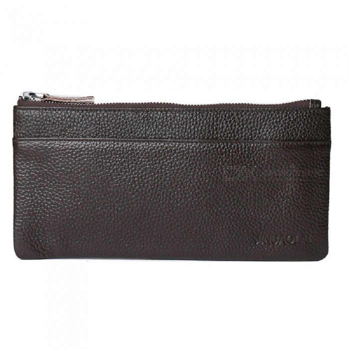 JIN BAO LAI Stylish Top Layer Cowhide Leather Mens Long Wallet Purse - CoffeeWallets and Purses<br>ColorCoffeeModel7014Quantity1 DX.PCM.Model.AttributeModel.UnitShade Of ColorBrownMaterialLeatherGenderMenSuitable forAdultsOpeningZipperStyleFashionWallet Dimensions20.5*11*1cmPacking List1 x Wallet<br>