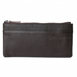 JIN BAO LAI Stylish Top Layer Cowhide Leather Men's Long Wallet Purse - Coffee