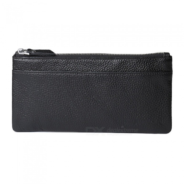 JIN BAO LAI Stylish Top Layer Cowhide Leather Mens Long Wallet Purse - BlackWallets and Purses<br>ColorBlackModel7014Quantity1 DX.PCM.Model.AttributeModel.UnitShade Of ColorBlackMaterialLeatherGenderMenSuitable forAdultsOpeningZipperStyleFashionWallet Dimensions20.5*11*1cmPacking List1 x Wallet<br>