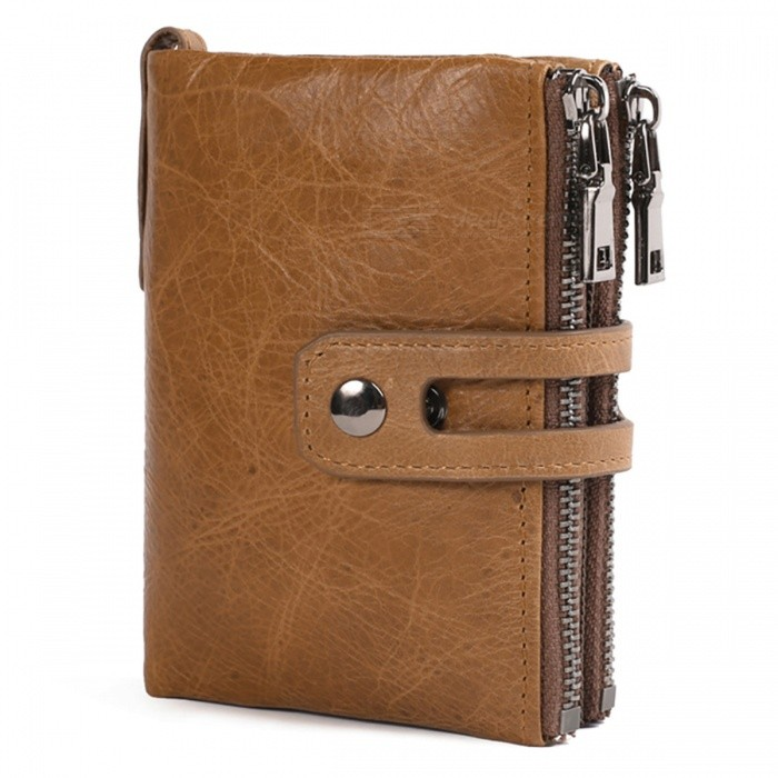 JIN BAO LAI Vintage Style Genuine Leather Mens Wallet, Large Capacity Double Zipper Fastener Purse - CoffeeWallets and Purses<br>ColorCoffeeModel307#Quantity1 DX.PCM.Model.AttributeModel.UnitShade Of ColorBrownMaterialLeatherGenderMenSuitable forAdultsOpeningZipperStyleFashionWallet Dimensions12*9.5*3cmPacking List1 x Wallet<br>