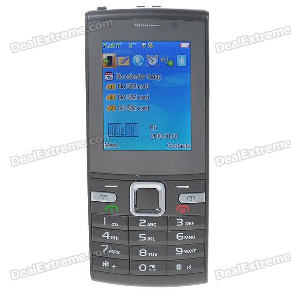 "X3 2.0"" LCD Tri-SIM Tri-Network Standby Quadband GSM Cell Phone w/ FM Radio + Flashlight - Grey"