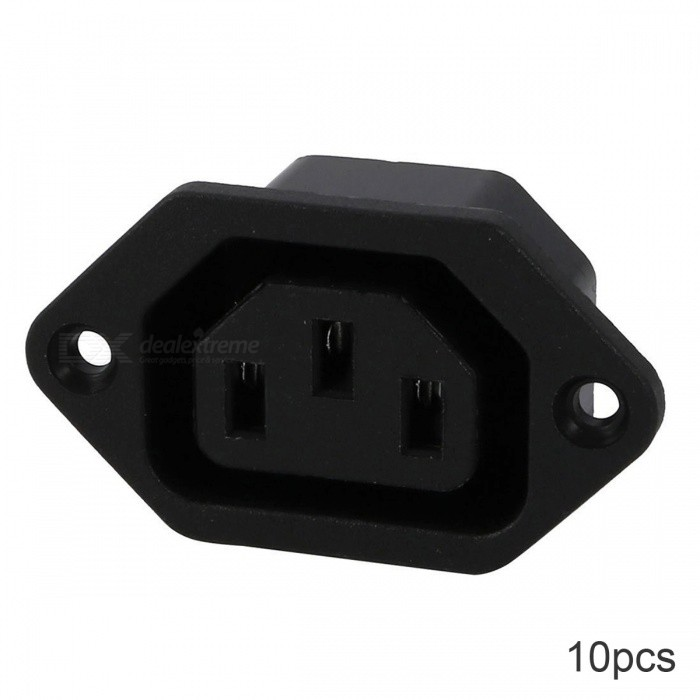 RXDZ AC 250V 10A IEC 320 C13 Panel Mount Connector Socket - 10PCSDIY Parts &amp; Components<br>ColorblackQuantity10 DX.PCM.Model.AttributeModel.UnitMaterialPlastic, electronic partsEnglish Manual / SpecNoCertificationNOPacking List1 x Socket<br>