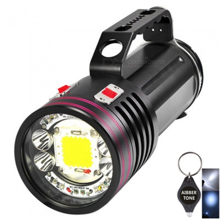 ARCHON DG150W / WG156W Rechargeable 100m Waterproof Underwater Video Torch, 10000LM UV / Red LED Diving Flashlight TorchDiving Flashlights<br>ColorBlackModelDG150W / WG156WQuantity1 setMaterialDurable aircraft-grade aluminumEmitter BrandCreeLED TypeXM-L2Emitter BINothers,U2,L2Color BINRed,Purple,White,Others,UVNumber of EmittersOthers,17Theoretical Lumens10000 lumensActual Lumens10000 lumensPower Supply26650*10Working Voltage   23-14 VCurrent- ARuntime2-6 hoursNumber of Modes7Mode ArrangementHi,Low,Others,Switch 1: White (video light) high&gt; White medium &gt;White low&gt; off Switch 2: White (spot light)&gt;Red&gt; Purple&gt; UV&gt; off The two switches can be operated separately or simultaneously.Mode MemoryNoSwitch TypeForward clickySwitch LocationHeadLens Material5mm Polycarbonate BoardReflectorAluminum SmoothWorking Depth Underwater200 mStrap/ClipStrap includedPacking List1 x DG150W Flashlight1 x Built-in battery1 x Charger 1 x Silicone cord 1 x Description 1 x Silicone oil2 x Waterproof circles1 x EVA packing1 x AIBBER TONE led key chain<br>