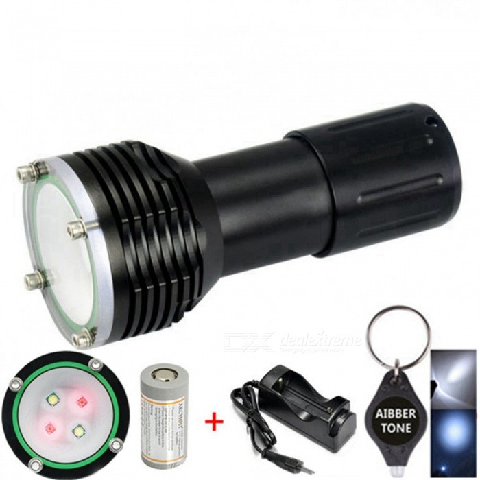 Original ARCHON D32VR W38VR 60m Underwater Photographing 1400LM Diving Light Flashlight Torch with Battery and ChargerDiving Flashlights<br>ColorWith Battery + ChargerModelARCHON D32VR (W38VR)Quantity1 setMaterialDurable aircraft-grade aluminumEmitter BrandCreeLED TypeXM-LEmitter BINU2Color BINRed,WhiteNumber of Emitters4Theoretical Lumens1400 lumensActual Lumens1400 lumensPower Supply32650 Li- ion battery *1Working Voltage   2.8V to 4.5 VCurrent4.5 ARuntime1-2 hoursNumber of ModesOthers,2Mode ArrangementHi,LowMode MemoryNoSwitch TypeTwistySwitch LocationTailcapLens MaterialGlassReflectorNoWorking Depth Underwater100 mStrap/ClipNoPacking List1 x ARCHON D32VR Diving Flashlight1 x Diving Rope2 x O-rings1 x User Manual1 x 32650 battery1 x Charger1 x AIBBER TONE led key chain<br>