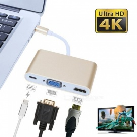 USB3.1 Type-C to VGA HDMI Type-C Female Charger PD Converter Adapter - Golden