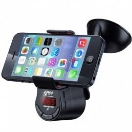 Multifunction Handsfree Car Kit FM Transmitter MP3 Audio Player with Suction Cup Holder Mount for Mobile Phone GPS