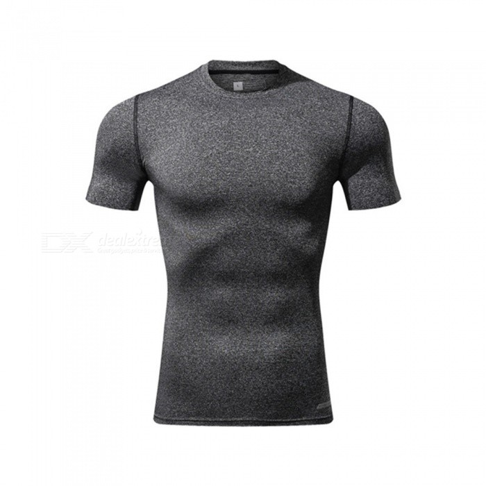 Ctsmart 119 Summer Tight-Fitting Fitness Short Sleeves Quick Drying T-shirt - Light Gray (M)Hoodies &amp; Sweatshirts<br>ColorLight graySizeMModel119Quantity1 pieceShade Of ColorGrayMaterialPolyester + spandexStyleSportsShoulder Width65 cmChest Girth86 cmWaist Girth86 cmSleeve Length26 cmTotal Length86 cmSuitable for Height170 cmPacking List1 x T-Shirt<br>