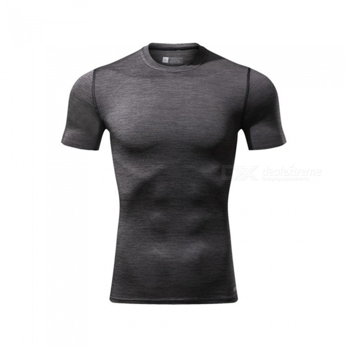 Ctsmart 119 Summer Tight-Fitting Fitness Short Sleeves Quick Drying T-shirt - Dark Gray (L)