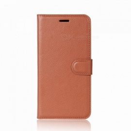 Lychee Pattern Protective PU Leather Flip-Open Wallet Case for One Plus 5T - Brown
