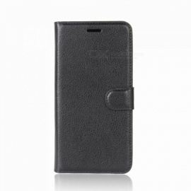 Lychee Pattern Protective PU Leather Flip-Open Wallet Case for Samsung J2 Pro 2018 - Black