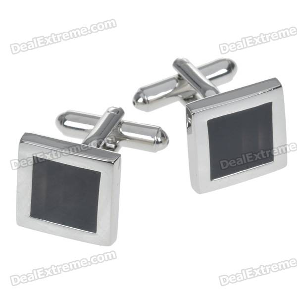Charming Plating White Steel Cufflinks for Men - Black Square