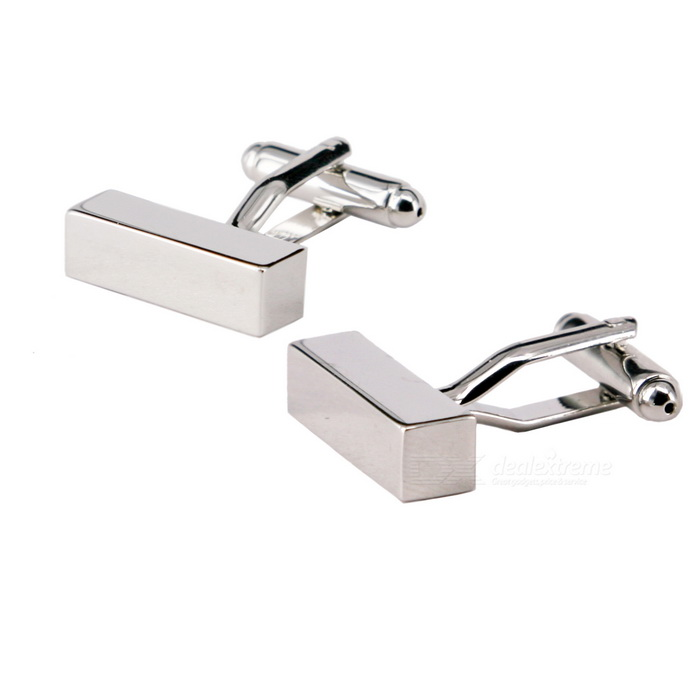 Charming Plating White Steel Cufflinks for Men - Rectangle