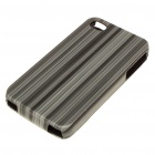 Stylish Protective PC Leather Case with Screen Guard + Cleaning Cloth for Iphone 4 - Black