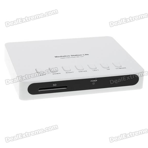 Мини 720P RM/RMVB/MP3 HD Media Player с SDHC / USB Host / AV-выход / YPbPr (белый)