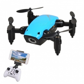 S9HW 2.4G 4-kanaals wifi FPV opvouwbare mini RC helicopter quadcopter drone met 0.3MP HD-camera - blauw
