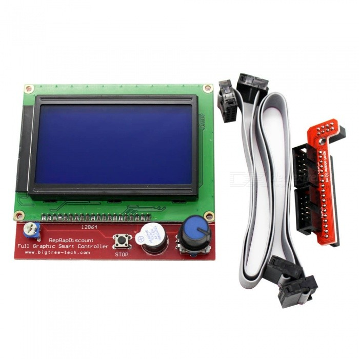 ZHAOYAO 12864 LCD Ramps Smart Parts, RAMPS 1.4 Controller Display Monitor Motherboard Blue Screen for 3D PrinterDIY Parts &amp; Components<br>ColorBlueQuantity1 setMaterialPVCEnglish Manual / SpecNoOther Features-Certification-Packing List1 x LCD 12864 Smart Controller1 x Smart Adapter2 x FC Cables<br>