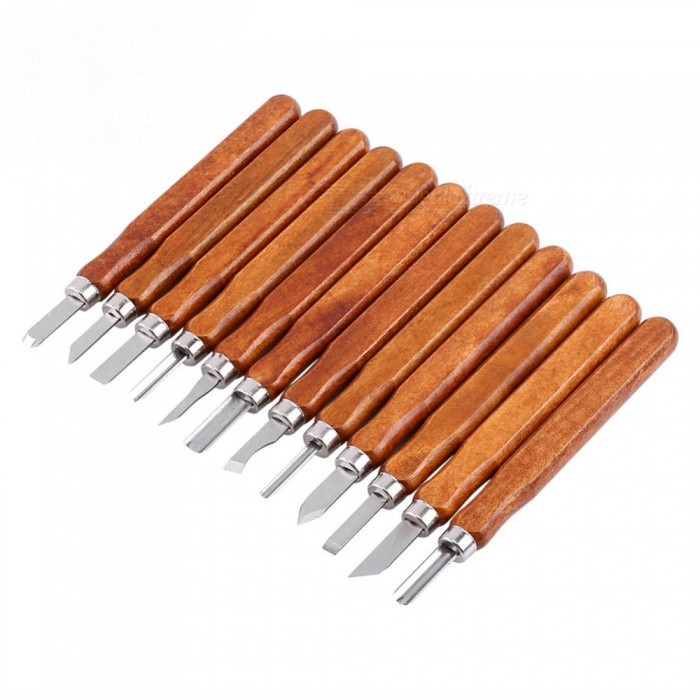 ZHAOYAO 12Pcs Woodcut Cutter Knife Set, Hand Wood Carving Chisels for Woodworking DIY ToolOther Tools<br>ColorBrownQuantity1 setMaterialIron + WoodenPacking List1 Set (12pcs) x Wood Carving Tools<br>
