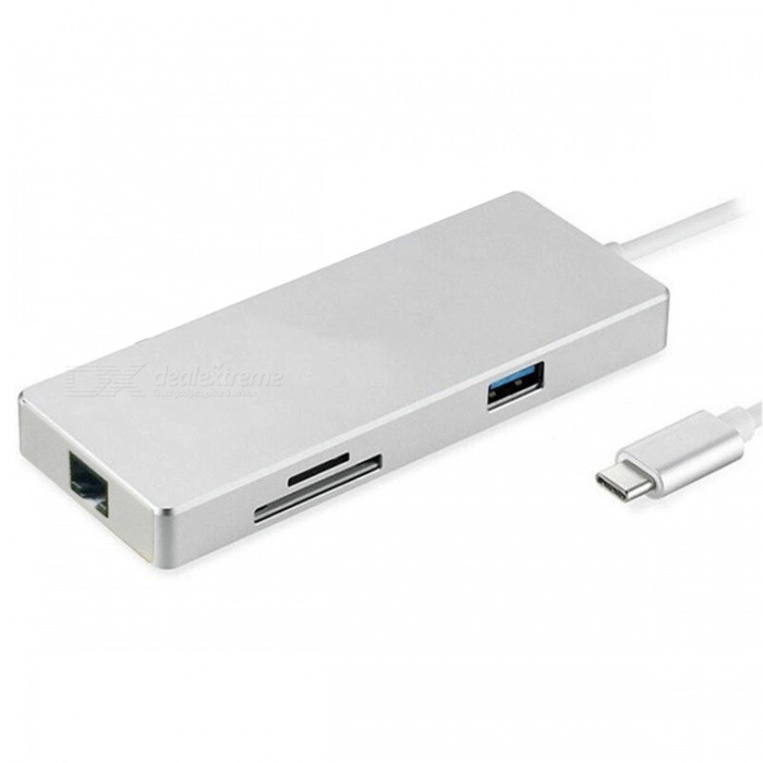 7-in-1 USB-C HUB with Type-C PD Power, 4K HDMI Video SD TF Card Reader / Gigabit Ethernet Adapter